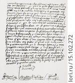 Купить «Letter from cardinal Pedro González de Mendoza, in his own hand, to Queen Isabella I of Castile, naming her executor of his will, dated 23 June, 1494....», фото № 15102272, снято 1 мая 2014 г. (c) age Fotostock / Фотобанк Лори