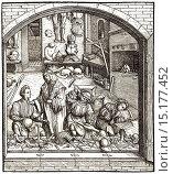 Купить «Workshop of a bladesmith, c. 1500,.», фото № 15177452, снято 29 ноября 2014 г. (c) age Fotostock / Фотобанк Лори