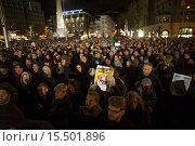 Купить «On 7 jan 2015, twenty thousand people demonstrated in Amsterdam against the killing of of the ten cartoonists of the french magazine Charlie Hebdo on 6 jan 2015.», фото № 15501896, снято 8 января 2015 г. (c) age Fotostock / Фотобанк Лори