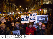 Купить «On 7 jan 2015, twenty thousand people demonstrated in Amsterdam against the killing of of the ten cartoonists of the french magazine Charlie Hebdo on 6 jan 2015.», фото № 15505844, снято 8 января 2015 г. (c) age Fotostock / Фотобанк Лори