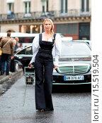 Paris Fashion Week - Spring/Summer 2015 - Streetstyle (2014 год). Редакционное фото, фотограф The Styleograph / WENN.com / age Fotostock / Фотобанк Лори