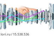 Купить «Рука указывает на высотное современное здание», фото № 15538536, снято 27 мая 2020 г. (c) Кирилл Черезов / Фотобанк Лори