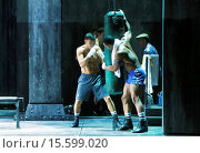 Купить «World Middleweight Champ Gennady Golovkin makes cameo appearances in Broadway's Rocky at the Winter Garden Theatre - On Stage. Featuring: Gennady Golovkin...», фото № 15599020, снято 24 июля 2014 г. (c) age Fotostock / Фотобанк Лори