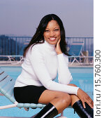 Купить «Actress Garcelle Beauvais by Swimming Pool», фото № 15760300, снято 18 марта 2018 г. (c) age Fotostock / Фотобанк Лори