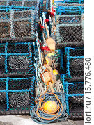 Купить «Creels,lobsters crabs pots Gourdon harbour NE Scotland UK.», фото № 15776480, снято 2 мая 2011 г. (c) age Fotostock / Фотобанк Лори