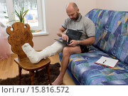 Купить «A man with a foot injury.», фото № 15816572, снято 24 апреля 2018 г. (c) age Fotostock / Фотобанк Лори