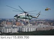Купить «Средний многоцелевой вертолёт Ми-38 2 и лёгкий многоцелевой вертолёт Ка-226Т над подмосковным городом Люберцы, Воздушная съёмка», фото № 15899700, снято 20 августа 2015 г. (c) Михеев Алексей / Фотобанк Лори