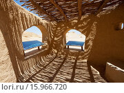 Купить «Shaded Rest Area With Explanatory Signs In Wadi Al-Hitan (Whale Valley), El Fayoum, Egypt», фото № 15966720, снято 19 ноября 2017 г. (c) age Fotostock / Фотобанк Лори