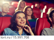 Купить «happy friends watching movie in theater», фото № 15991708, снято 19 января 2015 г. (c) Syda Productions / Фотобанк Лори