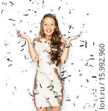 Купить «happy young woman or teen girl in fancy dress», фото № 15992960, снято 31 октября 2015 г. (c) Syda Productions / Фотобанк Лори
