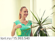 Купить «happy woman in spraying houseplants at home», фото № 15993540, снято 25 января 2015 г. (c) Syda Productions / Фотобанк Лори