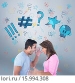 Composite image of angry couple shouting during argument. Стоковое фото, агентство Wavebreak Media / Фотобанк Лори