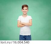 Купить «happy boy in white t-shirt and jeans», фото № 16004540, снято 6 ноября 2015 г. (c) Syda Productions / Фотобанк Лори