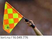 Купить «football, flag signalising offside», фото № 16049776, снято 15 сентября 2007 г. (c) age Fotostock / Фотобанк Лори
