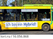Купить «hybrid electric bus, Germany», фото № 16056868, снято 18 октября 2014 г. (c) age Fotostock / Фотобанк Лори