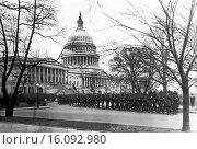 Купить «Washington, D.C.: April 1, 1920.The 63rd Infantry, which is the bodyguard for the nation´s Capitol, marching in a preparedness drill in front of the Capitol Building.», фото № 16092980, снято 18 февраля 2019 г. (c) age Fotostock / Фотобанк Лори