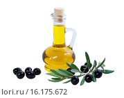 Купить «Glass bottle of premium olive oil and some ripe olives with a branch isolated on white background», фото № 16175672, снято 15 декабря 2015 г. (c) Наталья Волкова / Фотобанк Лори