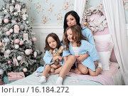 Семья на кровати перед елкой в одинаковой одежде. Стоковое фото, фотограф Nataliya Pogodina / Фотобанк Лори