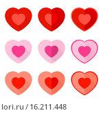 Купить «Сердечки на белом фоне - иконки ко Дню святого Валентина», иллюстрация № 16211448 (c) Ирина Иглина / Фотобанк Лори