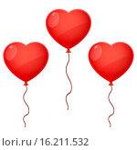 Купить «Три воздушных шарика в форме сердец на белом фоне», иллюстрация № 16211532 (c) Ирина Иглина / Фотобанк Лори