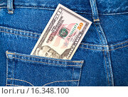 Купить «Fifty dollars bill sticking out of the back jeans pocket», фото № 16348100, снято 17 августа 2018 г. (c) FotograFF / Фотобанк Лори