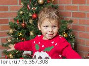 Мальчик в ярком свитере на фоне новогодней елки. Стоковое фото, фотограф Алексей Чубов / Фотобанк Лори