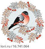 Купить «Виньетка из рябиновых листьев и ягод и снегирь», иллюстрация № 16741064 (c) Елисеева Екатерина / Фотобанк Лори