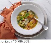 Купить «Minestrone hearty vegetable soup, Apulia, Italy», фото № 16786308, снято 6 июля 2020 г. (c) easy Fotostock / Фотобанк Лори