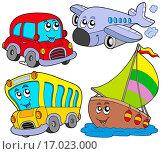 Купить «Various cartoon vehicles _ isolated illustration.», фото № 17023000, снято 12 ноября 2019 г. (c) easy Fotostock / Фотобанк Лори