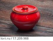 Купить «Красный глиняный горшок с крышкой», фото № 17209988, снято 19 сентября 2015 г. (c) Алёшина Оксана / Фотобанк Лори