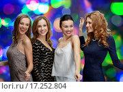 Купить «happy young women dancing at night club disco», фото № 17252804, снято 21 ноября 2015 г. (c) Syda Productions / Фотобанк Лори