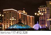 Ночная Москва, Манежная площадь, эксклюзивное фото № 17412328, снято 24 декабря 2015 г. (c) Яна Королёва / Фотобанк Лори