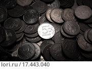 Купить «Куча российских рублей в виде монет», фото № 17443040, снято 25 декабря 2015 г. (c) Александр Калугин / Фотобанк Лори