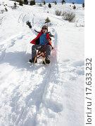 Купить «Pre_teen Boy On A Sled In The Snow», фото № 17633232, снято 3 июля 2020 г. (c) easy Fotostock / Фотобанк Лори