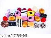 Купить «Many candy on white background.Fruit snacks», фото № 17799668, снято 21 августа 2018 г. (c) easy Fotostock / Фотобанк Лори