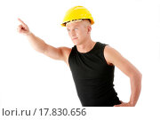 Купить «Builder in yellow helmet pointing up.», фото № 17830656, снято 19 августа 2018 г. (c) easy Fotostock / Фотобанк Лори