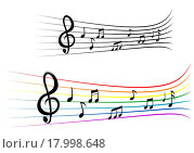 Купить «Notes with music elements as a musical background design», иллюстрация № 17998648 (c) easy Fotostock / Фотобанк Лори
