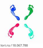 Купить «Prints of human feet», фото № 18067788, снято 22 февраля 2019 г. (c) easy Fotostock / Фотобанк Лори