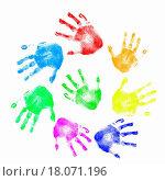 Купить «Colourful prints of human hands», фото № 18071196, снято 22 февраля 2019 г. (c) easy Fotostock / Фотобанк Лори