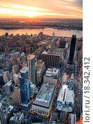 Купить «Hudson River sunset New York City Manhattan», фото № 18342412, снято 20 января 2020 г. (c) easy Fotostock / Фотобанк Лори
