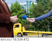 Купить «Media interview», фото № 18534472, снято 24 января 2019 г. (c) PantherMedia / Фотобанк Лори