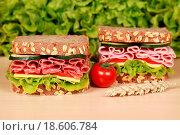 Купить «Brote belegt mit Schinken und Salami», фото № 18606784, снято 26 мая 2020 г. (c) easy Fotostock / Фотобанк Лори