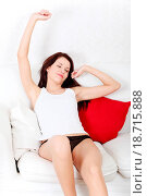 Купить «Beautiful woman stretching her body in the morning.», фото № 18715888, снято 25 апреля 2019 г. (c) easy Fotostock / Фотобанк Лори