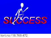Купить «A cartoon figure running to success  3D rendered Illustration», иллюстрация № 18769472 (c) easy Fotostock / Фотобанк Лори