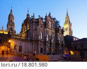 Купить «Santiago de Compostela Cathedral in evening», фото № 18801980, снято 18 октября 2018 г. (c) Яков Филимонов / Фотобанк Лори