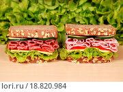 Купить «Brote belegt mit Schinken und Salami», фото № 18820984, снято 26 мая 2020 г. (c) easy Fotostock / Фотобанк Лори