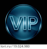 Купить «VIP icon dark blue, isolated on black background.», фото № 19024980, снято 24 февраля 2019 г. (c) easy Fotostock / Фотобанк Лори