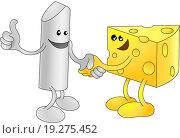 Купить «Chalk and Cheese happily shaking hands», фото № 19275452, снято 22 марта 2019 г. (c) easy Fotostock / Фотобанк Лори