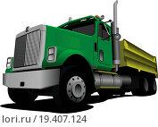 Купить «Green Tipper isolated on white background vector illustration», иллюстрация № 19407124 (c) easy Fotostock / Фотобанк Лори