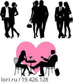 Купить «Lots of people, romance couple, silhouette - vector set», фото № 19426128, снято 19 июня 2019 г. (c) easy Fotostock / Фотобанк Лори